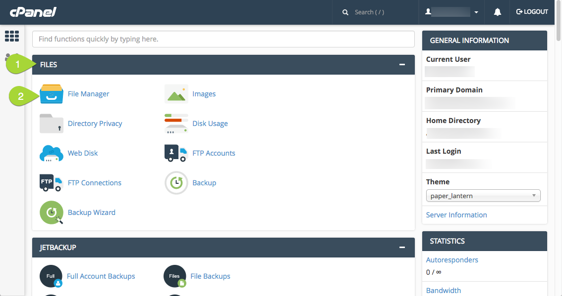 cPanel Home -> File Manager Icon