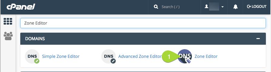 cPanel -> Zone Editor